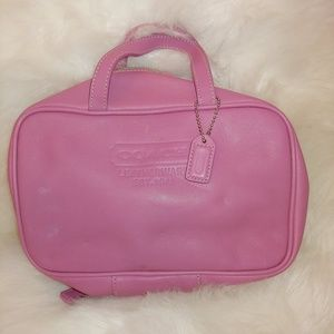 Coach Pink Leather Travel Cosmetic Toiletry Bag